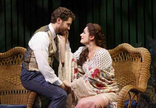 "Matthew Morrison and Laura Michelle Kelly in a scene ""Finding Neverland"" (Photo credit: Carol Rosegg)"