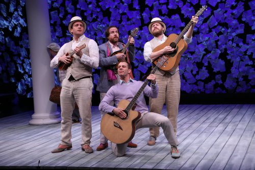 "Zachary Fine, Paul L. Coffey, Noah Brody (on bended knee) and Andy Grotelueschen as they serenade Proteus' lady love with the famous song ""Who is Sylvia?"" in The Two Gentlemen of Verona (Photo credit: Gerry Goodstein)"