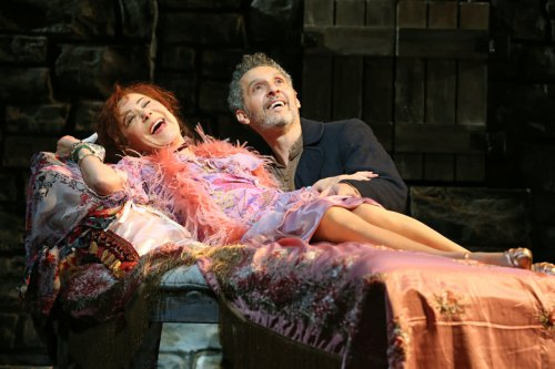 "Zoë Wanamaker and John Turturro in a scene from Encores! ""Zorba!"" (Photo credit: Joan Marcus)"