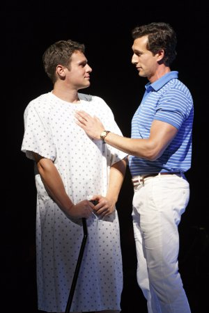 "Jonathan Groff and Aaron Lazar in a scene from ""A New Brain"" (Photo credit: Joan Marcus)"