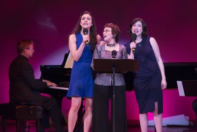"Kerry Conte, Judy Blazer and Leah Horowitz as the appeared at the 92Y's Lyrics & Lyricists Series: ""To Life!  Celebrating 50 Years of 'Fiddler on the Roof'"" (Photo credit: Richard Termine)"