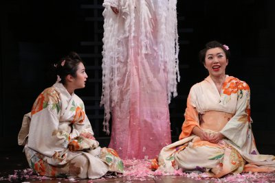 """Sasha Diamond and Jo Mei in a scene from Leah Nanako Winkler's """"Double Suicide at Ueno Park!"""" (Photo credit: Gerry Goodstein)"""