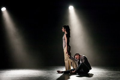 "Ida Saki and Jon Bond in a scene from Crystal Pite's ""Ten Duets on a Theme of Rescue"" (Photo credit: Sharon Bradford)"