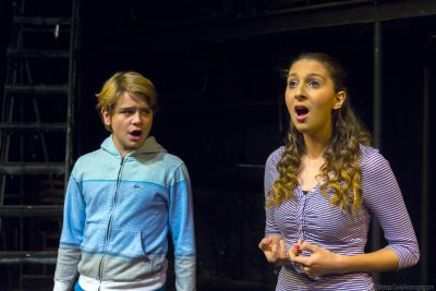 "Will Ehren and Violet Vale in a scene from ""Out of my Comfort Zone"" (Photo credit: Courtesy of Children's Acting Company)"