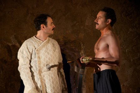 "Arian Moayed and Omar Metwally in a scene from Rajiv Joseph's ""Guards at the Taj"" (Photo credit: Doug Hamilton)"