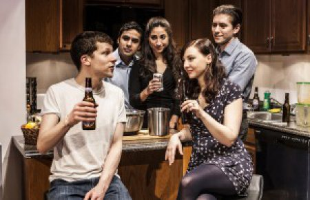 "Jesse Eisenberg, Kunal Nayyar, Annapurna Sriram, Erin Darke and Michael Zegen in a scene from ""The Spoils"" (Photo credit: Monique Carboni)"