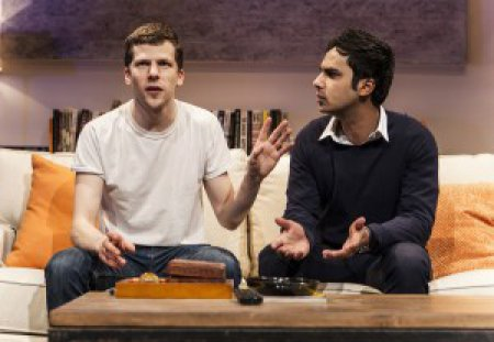 "Jesse Eisenberg and Kunal Nayyar in a scene from ""The Spoils"" (Photo credit: Monique Carboni)"