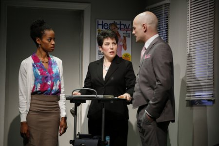 """Patrice Bell, Maria Wolf and Carson Lee in a scene from """"Office Politics"""" (Photo credit: Carol Rosegg)"""