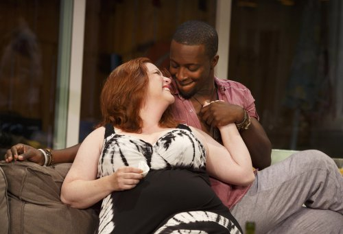 "Donna Lynne Champlin and Andy Lucien in a scene from Bruce Norris' ""The Qualms"" (Photo credit: Joan Marcus)"