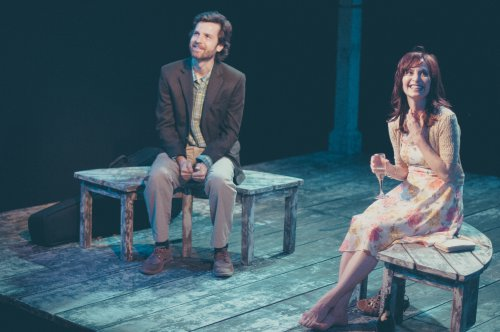 """Dusty Brown and Julie Voshell in a scene from The Barrow Group's revival of """"The Pavilion"""" (Photo credit: Abigail Classey)"""