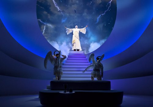 """Tim Kazurinsky, Jim Parsons (at the top of steps) and Christopher Fitzgerald in a scene from """"An Act of God"""" (Photo credit: Jeremy Daniel)"""