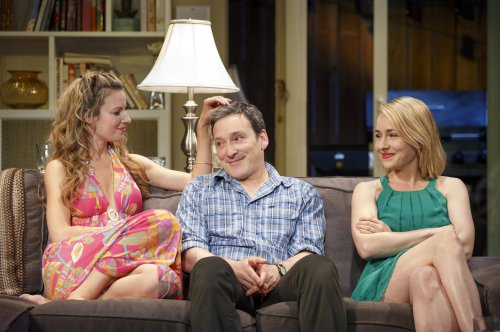 "Kate Arrington, Jeremy Shamos and Sarah Goldberg in a scene from Bruce Norris' ""The Qualms"" (Photo credit: Joan Marcus)"