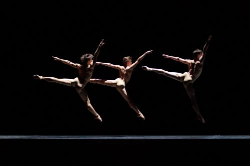 "Adam Kozal, Patryk Walczak and Kursz Wojenski of the Polish National Ballet in a scene from Krzysztof Pastor's ""Moving Rooms"" (Photo credit: Ewa Krasucka)"