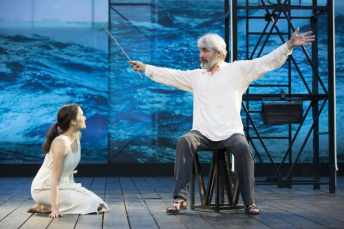 """Francesca Carpanini as Miranda and Sam Waterston as Prospero in a scene from """"The Tempest"""" at the Delacorte Theater (Photo credit: Joan Marcus)"""