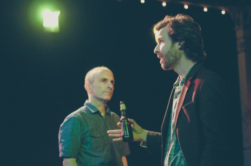"""Seth Barrish and Dusty Brown in a scene from The Barrow Group's revival of """"The Pavilion"""" (Photo credit: Abigail Classey)"""