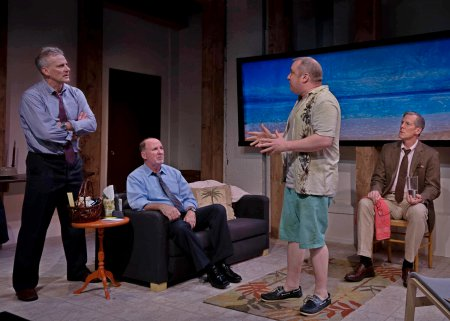 "L.J. Ganser, Brian Russell, Rory Scholl and Steven Hauck in a scene from ""Mallorca"" (Photo credit: Kim T. Sharp)"