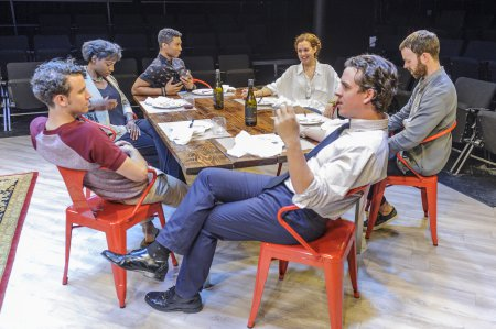 "Aaron Rossini, Rachel Christopher, Jude Sandy, Claire Karpen, Craig Wesley Divino and Jimmy King in a scene from ""At the Table"" (Photo credit: Jacob J. Goldberg)"