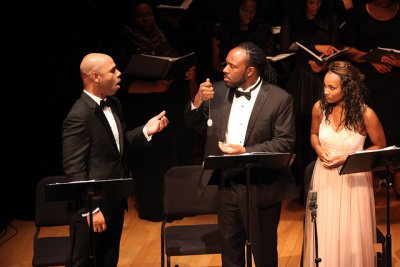 "Barry L. Robinison, Steve Wallace and JoAnna Marie Ford in a scene from ""Voodoo, a Harlem Renaissance Opera"" (Photo credit: Regina Fleming)"