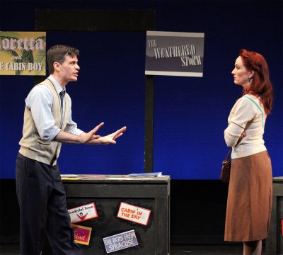 "Chris Gleim and Mary Mossberg in a scene from the musical ""What Do Critic Want?"" (Photo credit: Nick Tighe)"