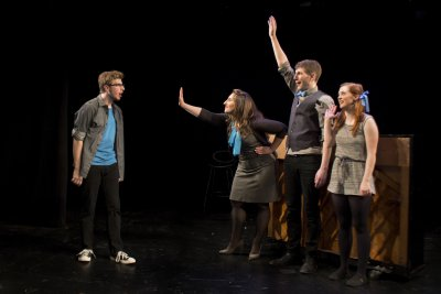 "Ethan Andersen, Nicole Dalto, Matthew Summers and Katie Emerson in a scene from ""HeadVoice"" (Photo credit: Morgan Mayer)"