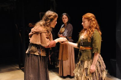 """Lucy Faust, Chelsea Melone and Tara Girodano in a scene from Caryl Chruchill's """"Vinegar Tom"""" (Photo credit: Stan Barouh)"""