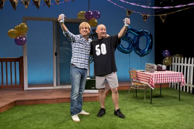 """Mark Vogel and Lynn Shore in a scene from """"Happy 50ish"""" (Photo credit: Jeremy Daniel)"""