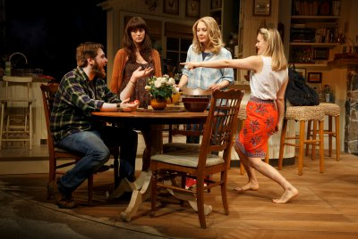 """Nate Miller, Heather Lind, Jennifer Mudge and Alicia Silverstone in a scene from """"Of Good Stock"""" (Photo credit: Joan Marcus)"""