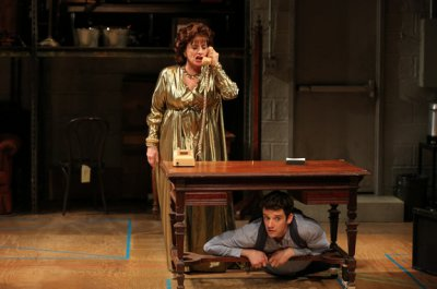 "Patti LuPone and Michael Urie in a scene from ""Shows for Days"" (Photo credit: Joan Marcus)"
