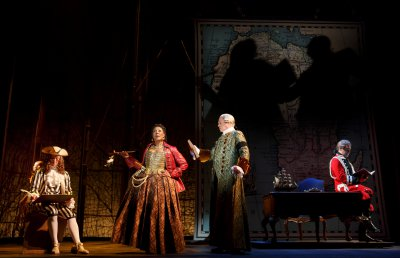 "Stanley Bahorek, Harriett D. Foy, Tom Hewitt and Chris Hoch in a scene from ""Amazing Grace"" (Photo credit: Joan Marcus)"
