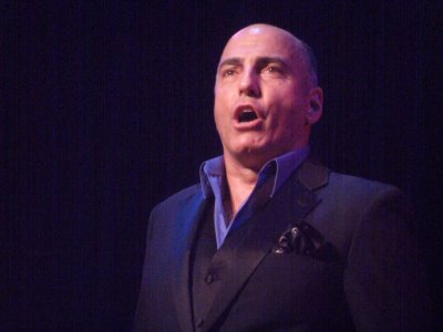 "William Michals as he sang ""Stranger in Paradise"" at Broadway Unplugged (Photo credit: Maryann Lopinto)"