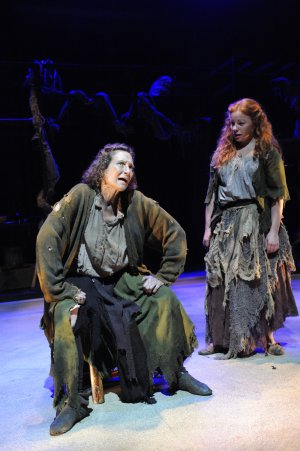 "Nesba Crenshaw and Tara Giordano in a scene from Caryl Churchill's ""Vinegar Tom"" (Photo credit: Stan Barouh)"