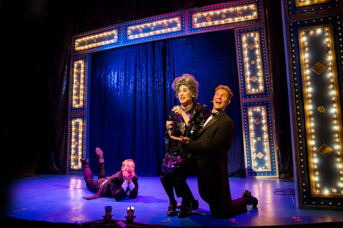 """Brandon Haagenson, David Hanbury as Mrs. Smith and Ken Lear in a scene from """"Mrs. Smith's Broadway Cat-tacular"""" (Photo credit: Dan Norman)"""