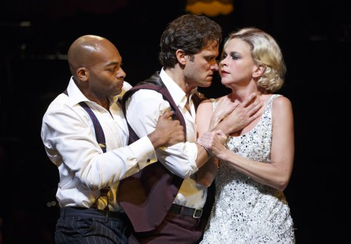 "Brandon Victor Dixon, Stephen Pasquale and Sutton Foster and in a scene from ""The Wild Party"" (Photo credit: Joan Marcus)"