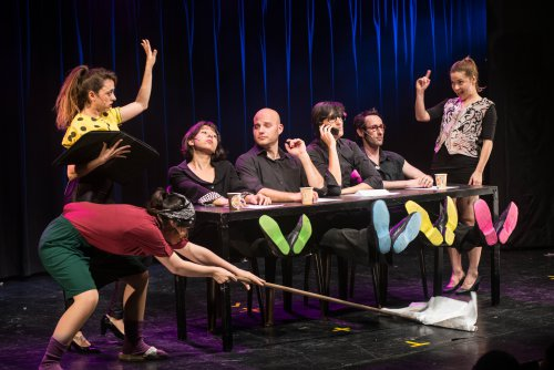 """A scene from """"Odd Birdz"""" at the Players Theater (Photo credit: Lior Rotstein)"""