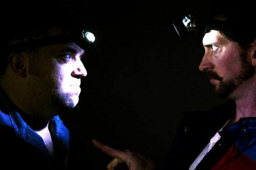 """Isaac Byrne and Adam Belvo in a scene from """"Butcher Holler Here We Come"""" (Photo credit: Yvonne Alloway)"""