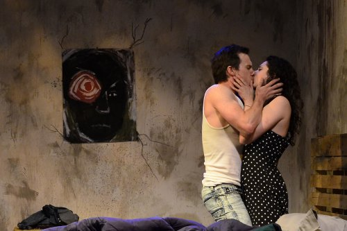 "Shane Patrick Kearns and Lauren Nicole Cipoletti in a scene from John Patrick Shanley's ""the dreamer examines his pillow"" (Photo credit: Natalie Artemyeff)"