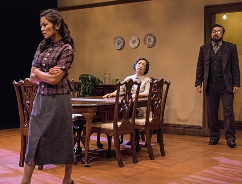 "Teresa Avia Lim, Mia Katigbak and David Shih in a scene from NAATCO's revival of Clifford Odets'  ""Awake and Sing!"" (Photo credit: William P. Steele)"