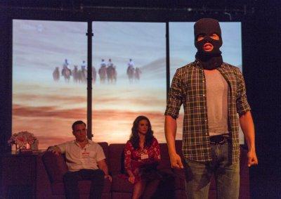 "Rafael DeMussa, Lisa LaMattina and Gabriel Diaz DeSalas in a scene from ""Araberlin""(Photo credit: Richard Termine)"