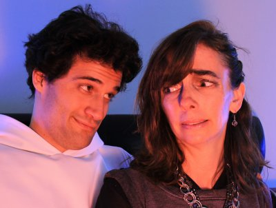 """Dan Fagan and Laura Lundy–Paine in a scene from """"The Singularity"""" (Photo credit: Bren Combs)"""