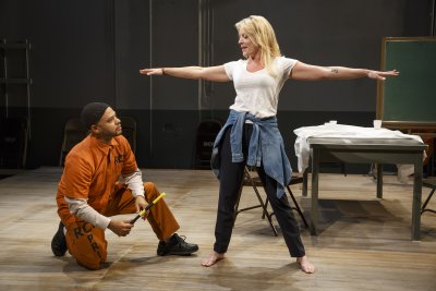 """Ryan Quinn and Sherie Rene Scott in a scene from """"Whirl Inside a Loop"""" (Photo credit: Joan Marcus)"""