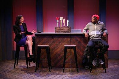 "Tanis Parenteau and W. Tre Davis in a scene from Vickie Ramirez's ""Glenburn 12 WP"" (Photo credit: Carol Rosegg)"