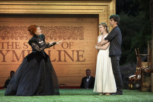 "Kate Burton, Lily Rabe and Hamish Linklater in a scene from Shakespeare in the Park's ""Cymbeline"" (Photo credit: Carol Rosegg)"