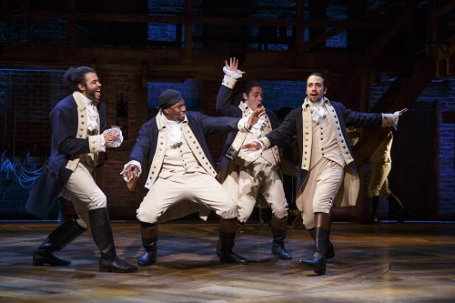 "Daveed Diggs, Okieriete Onaodowan, Anthony Ramos and Lin-Manuel Miranda in a scene from ""Hamilton"" (Photo credit: Joan Marcus)"