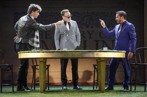 "Hamish Linklater, Patrick Page and Raúl Esparza in a scene from Shakespeare in the Park's ""Cymbeline"" (Photo credit: Carol Rosegg)"