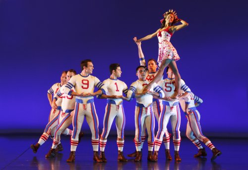 "Misty Copeland and the ensemble in a scene from ""On the Town"" (Photo credit: Joan Marcus)"