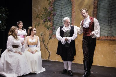 "Deanna Gibson, Kerry Frances, Stephanie Nicole Kelley, Branislav Tomich and Jackson Thompson in a scene from ""Delirium's Daughters"" (Photo credit: Michael Blase)"