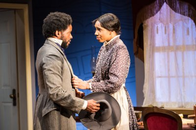 "Luke Forbes and Krystel Lucas in a scene from ""Couriers and Contrabands"" (Photo credit: Al Foote III)"