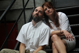 """Hanna Cheek and Clay McLeod Chapman as they appear in """"The Pumpkin Pie Show: Labor Pains"""" (Photo credit: KL Thomas)"""