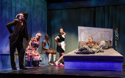 "Ian Gould, Marilyn Sokol, Serge Thony, Rebeca Fong and Christopher Daftsios in a scene from ""In Bed with Roy Cohn"" (Photo credit: Russ Rowland)"