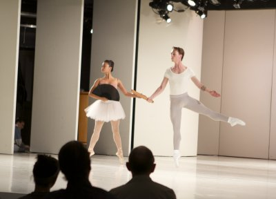 """Angelica Generosa and Kyle Davis in a scene from Petipa's """"Les Millions d'Arlequin"""" (Photo credit: Works & Process at the Guggenheim/Jacklyn Meduga)"""